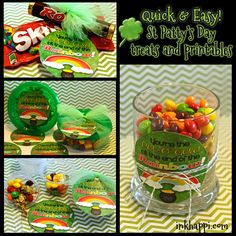 Quick and easy St Patricks day printables and treat ideas.