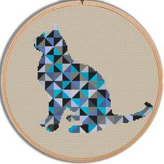 Geometric Cat Cross Stitch Pattern PDF Instant download, Geometric Animals, Colorful Cross Stitch, Gift, Cross Stitch Cat