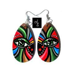 Hand Painted Wood Earrings Eye Earrings #abstract #art