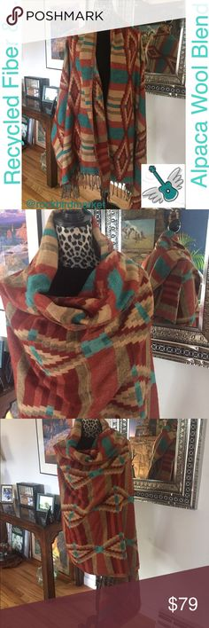 """✨huge sale✨sumptuous, cozy, fair-trade Alpaca Incredible softness paired with amazing Peruvian craftsmanship and eco-friendly manufacturing. These shawls are amazingly warm and cozy.  Watch out!  Your friends and neighbors will be asking to borrow!  And if your kids are like mine, you will occasionally find them sleeping on the couch wrapped in one of these cozy Alpaca shawls!  This one is 38"""" x 81"""". I am a five star closet, and a suggested user. ❤ Check my reviews and buy with confidence…"""