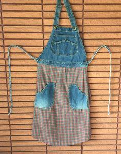Bib Overall Apron Custom Handmade From Used Denim and Man's Shirt. | eBay