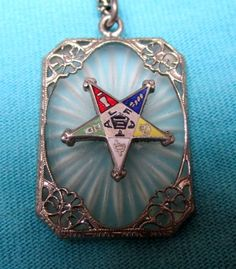 Vintage camphor glass necklace Order of Eastern Star by WeirdMary, $100.00