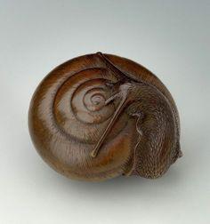 Tadatoshi, Snail netsuke, late 18th-early 19th century (source).