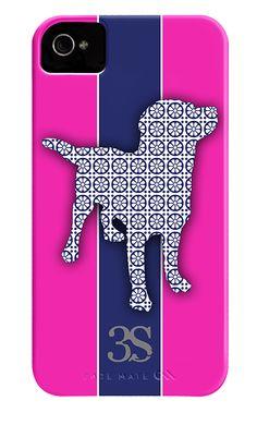 iPhone4 Pink Navy Stripe Labrador  www.ItsaLabThing.com