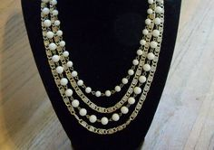 Vintage Coro 4 Strand Necklace Wedding Jewellry Bridal Party Jewelry Gift Idea Mothers Day