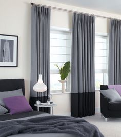 Blue with brown trim on bottom//Custom Drapery from The Shade Store Two Tone Curtains, Bedroom Curtains With Blinds, Cool Curtains, High Curtains, Grey Curtains, Window Blinds, Window Sill, Contemporary Curtains, Modern Curtains