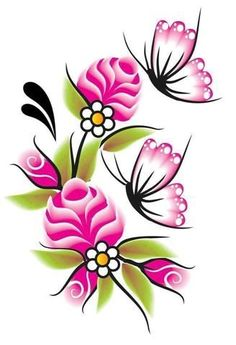 Rock Flowers, Butterfly Flowers, Flower Art, Butterflies, Flower Images, Flower Pictures, Painting Patterns, Fabric Painting, Hand Embroidery Flowers