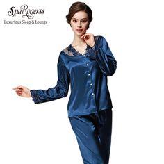 SpaRogerss Luxurious Women Pajama Set 2017 Faux Silk Lace Ladies Pajamas  Female Pijamas 2 Pcs Silky Sleep Lounge Woman New TZ193 a8768e689