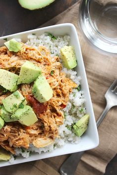 -*+Hello there friends! Crockpot Shredded Mexican Chicken is probably the bestest of best things ever. The whole chicken + salsa combination is over the top amazing. Top it off with a little extra flavor and creaminess from the taco seasoning...