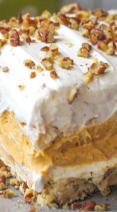 Pumpkin Delight Layered Pumpkin Dessert ~ a pecan layer, cream cheese layer, pumpkin and pudding layer and a Cool Whip layer on top 13 Desserts, Holiday Desserts, Holiday Recipes, Delicious Desserts, Dessert Recipes, Yummy Food, Thanksgiving Recipes, Layered Pudding Desserts, Fall Recipes
