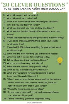 If you want to find out how your child& day was, you have to be really strategic. Here& 20 clever questions to get your child talking about their school day! Kids Questions, This Or That Questions, Deep Questions, Good Questions To Ask, Either Or Questions, About Me Questions, Dating Questions, Interview Questions, Kids And Parenting