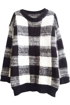 Plaid Pattern Round Neck Long Sleeve Mohair Sweater in Loose Fit