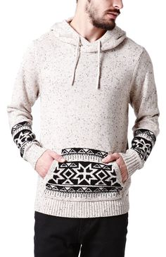 PacSun presents the On The ByasColby Printed Pullover Sweater for men. This fair isle knit men's sweater sports a matching hood and drawstrings with a two tone front pocket pouch.Two tone sweaterMatching hood and drawstringsFront pocket pouchLong sleevesRegular fitMachine washable56% cotton, 40% acrylic, 4% nylonImported