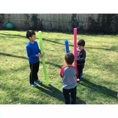 "credit to "" Raising Dragons"" Noodles Games, Pool Noodle Games, Family Party Games, Kids Party Games, Toddler Learning Activities, Preschool Activities, Sports Day Activities, Teambuilding Activities, Backyard Games"