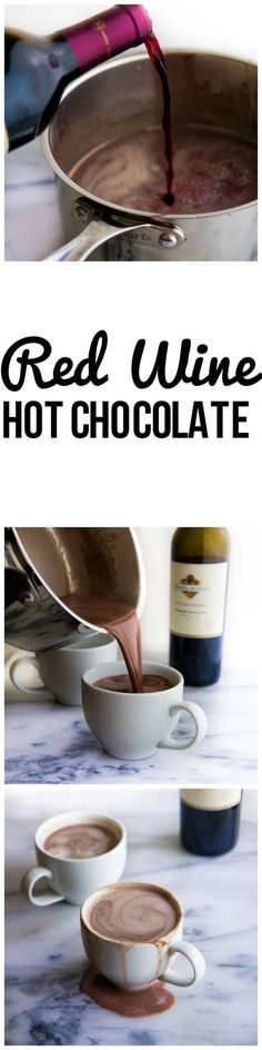 Red wine hot chocolate... 1 1/2 cup milk (I used 2%)1 cup red wine (I used Kendall-Jackson Cabernet Sauvignon)1/3 cup dark chocolate chunks