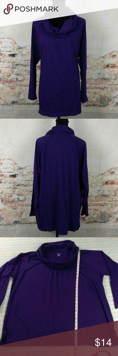 Lands' End 2X Purple Cowl Neck Knit Top Lands' End Wms Plus Sz 2X Purple Cotton Blend Knit Cowl Neck Long Sleeve Top Lands' End Tops