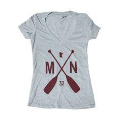 Women's MN Paddle V-Neck - Dark Heather Grey/Maroon  I want it