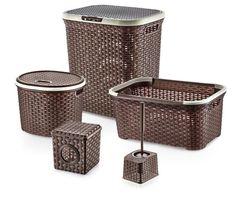 Laundry Hamper Set Clothes Storage Bins 5 pc Toilet Brush Holder Basket and More #LaundryHamperSet