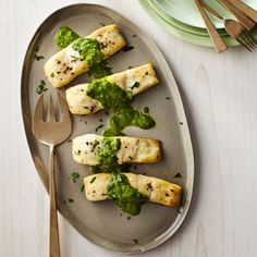 Baked Halibut with Sauce Verte | MyRecipes.com #myplate #protein