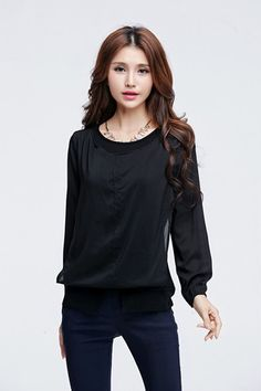 TSE965 Plus Size Overlayed Long Sleeve Tee - Black - DEBE Beautic