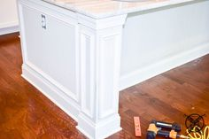 Want to Upgrade Your Kitchen Island? This is a super quick, inexpensive, easy weekend project, that provides a lot of character to an otherwise basic kitchen island by adding picture frame molding. Kitchen Island Molding, Kitchen Island Makeover, Grey Kitchen Island, Diy Kitchen Cabinets, Kitchen Reno, Kitchen Ideas, Pictures Of Kitchen Islands, Painting Kitchen Countertops, Picture Frame Molding