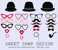 Moustache, Glasses, Hat, Pipe, Costume Prop Clipart