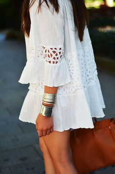 White and ruffle dress! So cute for summer! We all need a cute white dress to throw on while we have those summer tans!
