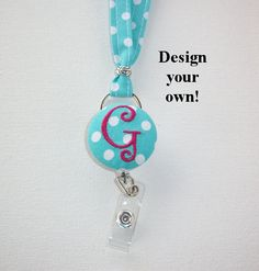 Lanyard ID Badge Holder with detachable reel  by FLHCreations  hand made / custom fabric patterns / designs for you, co-worker, friends / preppy / cute / personalized