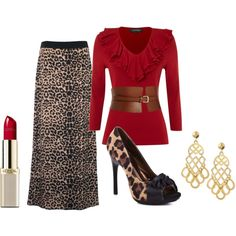 """Red and Leopard Dressy Casual Outfit"" by katrinaariana on Polyvore"