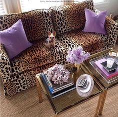 purple + leopard {love a pop of unexpected color and print} HELLO COUCH! Animal Print Decor, Animal Prints, Animal Print Furniture, Animal Print Fashion, Cheetah Print, Leopard Prints, My Dream Home, Living Room Decor, Bedroom Decor