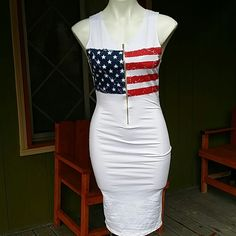 NWT Amazing Patriotic Dress Light weight material. Form fitting. Cotton and spandex. Gold zipper that zips in the front. Can fit small or medium. Price is firm Dresses Midi