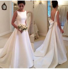 Cheap bridal gown, Buy Quality wedding dress bridal gown directly from China satin wedding dress Suppliers: Casamento 2016 A-line Satin Wedding Dresses Bridal Gown Court train vestidos de noiva blackless bridal gown with bow train Wedding Gowns 2016, Long Wedding Dresses, Bridal Dresses, Prom Dresses, Dress Prom, 2017 Wedding, Formal Dresses, Satin Wedding Gowns, Evening Dresses