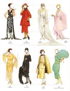 Flapper 1920s Fashion Paper Dolls Printable Vintage Dolls Art Deco 30 Dresses Paper Doll Party Dress Up Digital Download Collage Sheets