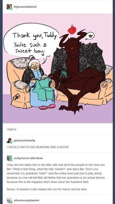 Tumblr Writing Prompt: Elderly Old Woman Mistakes Demon for Grandson - Imgur