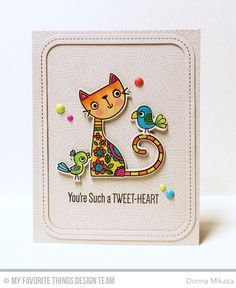 Handmade card from Donna Mikes featuring Purr-fect Friends stamp set and Die-namics #mftstamps