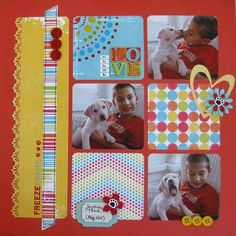 3 photo General Scrapbooking Idea -(inspiration for using scraps or 6x6 papers and a border punch).