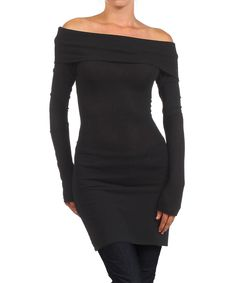 Look what I found on Black Off-Shoulder Tunic by J-Mode USA Los Angeles Slit Dress, Dress Me Up, Peplum Dress, Black Off Shoulder, Cool Outfits, Tunic, Formal Dresses, My Style, Casual