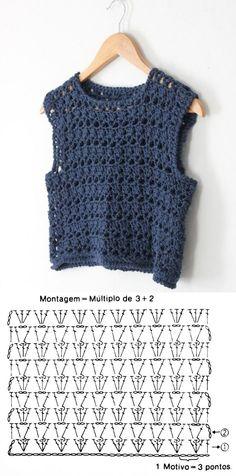 Crochet T Shirts, Crochet Blouse, Crochet Clothes, Diy Blouse, Crochet Tunic Pattern, Débardeurs Au Crochet, Pull Crochet, Diy Crochet Top, Patron Crochet
