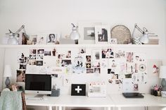 This is EXACTLY what I want in a desk space! High shelf that my computer will fit under. (Vintage cameras and owls will go there) Inspiration board on the wall and lots of desk space. Would probably put shelves going up both sides to put books.   Also, in white!