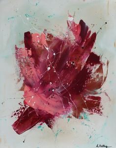 """SOLD!  """"Rose"""", abstract painting by Nashville, TN artist, Whitney St. Pierre. Measures 20x30. Available for sale December 4, 2015 - February 9, 2016 at POP ROCK (an art event curated by Liza Canale of https://area2tradingco.com/events/.)"""