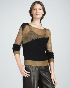 Shimmery Two-Tone Sweater by Alice + Olivia at Neiman Marcus.