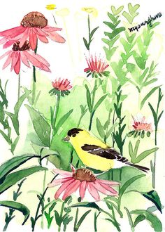 ACEO ORIGINAL watercolor, Summer garden, Goldfinch painting by Anna Lee #Realism