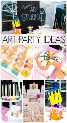 Fantastic art party ideas and desserts at this girl birthday! See more party ideas at CatchMyParty.com.