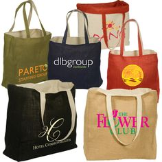 This reversible jute/cotton tote is made of jute fabric with a 6 oz natural cotton lining. The bag is reversible with imprinting available on either the jute or the cotton side Jute Tote Bags, Reusable Tote Bags, Promo Gifts, Promotional Bags, Jute Fabric, Custom Tote Bags, Client Gifts, Cotton Bag, Corporate Gifts