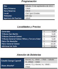 Precio de entradas Emelec vs. LDU-Q (15 de Septiembre 2012)