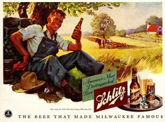 Taking a much needed break with the beer that made Milwaukee famous. #vintage #farmer #farm #1940s #beer #food #ad #summer