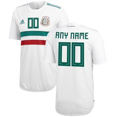 5305eba66 Mexico National Team adidas 2018 Away Authentic Custom Jersey – White Green