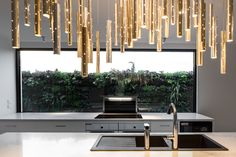 Clark Townhouses // Kitchen outlook with our beautiful Rain Light Drops shimmering above. Melbourne Architecture, Australian Architecture, Canterbury, Clarks, Ceasar Stone, Interior Decorating, Interior Design, Modern, Contemporary