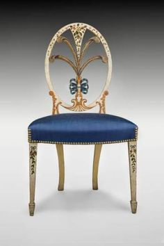 Painted Side Chair, ca. 1795, Salem, MA, wood, paint, reproduction upholstery (Peabody Essex Museum).
