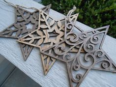 Set of Three Star Ornaments Laser Cut. Christmas by FiNeGRaiNeD by oldrose Laser Art, 3d Laser, Laser Cut Wood, Laser Cutting, Christmas Wood, Christmas Crafts, Christmas Decorations, Christmas Ornaments, Holiday Decor